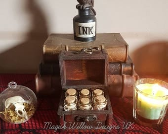 Magickal Small Wooden Chest With 100% genuine Herbs, Altar Piece, Spells, Insence