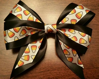 "Black & White 5"" Candy Corn Halloween Bow"