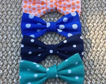 Polka Dot Bow, Blue Polka Dot Hair Bow, Teal Hair Bow, Navy Hair Bow, Orange Polka Dot Hair Bow, Blue Hair Bow, Pigtail Bow, Piggy Clips