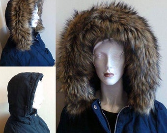 Faux Fur hood trim, Autumn Mink large and Fluffy detachable Faux Fur Hood Trim. Any size you need