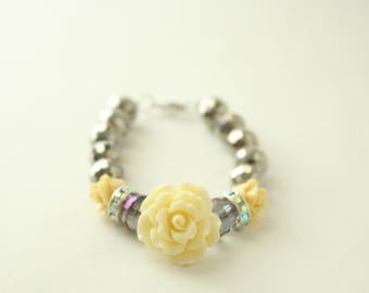 Silver Faceted with White Flower Bracelet