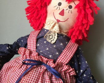 Patriotic Fourth of July Raggedy Ann Red White Blue With American Flag