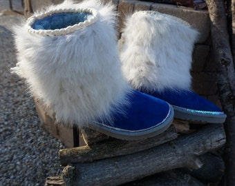 UGG Festival Boots ~ Blue Shades Enhanced with Fox Fur ~ Sz 7