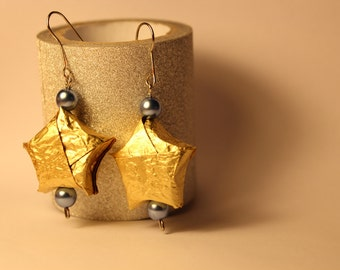 Origami earrings in gold paper stars