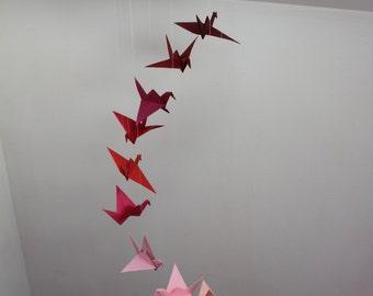Mobile child, spiral crane, origami mobile, mobile paper, mobile red, pink, suspension, birth gift
