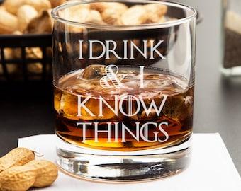I Drink & I Know Things - Engraved Whiskey Glasses - Rocks Glasses (1pc) - RG10OZ-DGI151