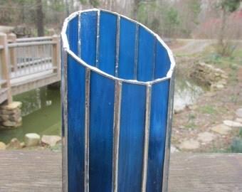 Stained glass, candle holder, vase, votive, teal, dark blue, art glass, suncatcher