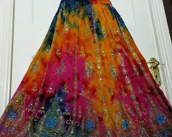 Ladies Boho Hippie, Gypsy, Long Skirt, Party Sequin Rayon Tie/Dye, Block Painted, Orange/Blue/Pink Handmade UK Size 8 10 12 14 6 18 20 22 24