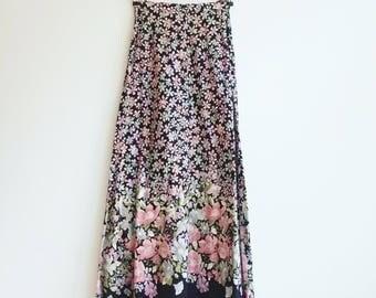 Vintage long maxi floral cotton hippie romantic skirt S