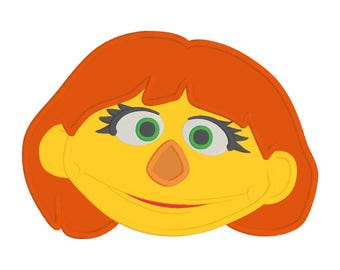 Sesame Street Julia Face Embroidery Design 5x7, Sesame Street Embroidery, Julia Embroidery, Julia Autism Autistic Appliqué Design File 5 x 7