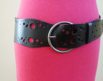 Women's Black Leather Belt, Black Hips Belt, Black Waist Belt, Size L