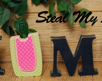 "Watermelon: DIY Unfinished Spring and Summer Letter Decoration ""O"" Insert ONLY - Craft for  ""H M E"", ""L V E"" or ""WELCME"" Letter Set"