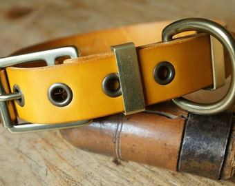 "handmade leather dog collar made in France Urban Cam ""The 270 yellow"""