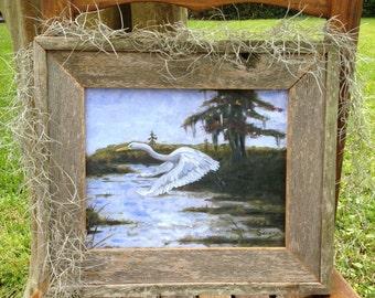 COMBO CEDAR reclaimed wood frame AND art print, Louisiana art, Acadiana art, Swamp decor, Cajun decor, Rustic decor, Farmhouse decor, Wall