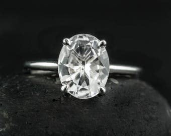 Natural White Topaz Engagement Ring - Oval White Topaz - Solitaire Setting