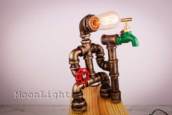Industrial Iron Pipe Robot Lamp Pipe Lamp Edison Table Lamp