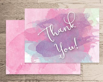 Thank You Card Instant Download- Rachel Collection- Pink and Purple Watercolour Handwritten Calligraphy White Printable Instant Home