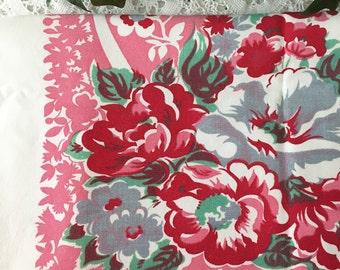 1950s  Red And Pink Cotton Tablecloth