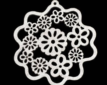 Pendant, Charm, Wood flower, Silver,  55mm