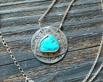 Clearance 30% off - Eye of the Storm - Vintage Morenci Turquoise and Sterling Silver handmade, artisan, silversmith necklace