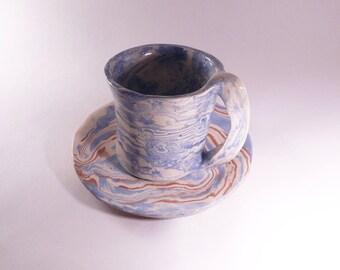 Blue and white tea set, blue cup, blue mug, handmade cup, handmade plate, ceramic mug, ceramic cup, ceramic plate, ceramic and pottery