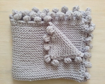 Knitting Pattern For Baby Snuggle Blanket : Hand knit blanket Etsy