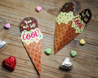 Valentine's Day Classroom Printable DIY Cards - ICE CREAM - You're so cool!