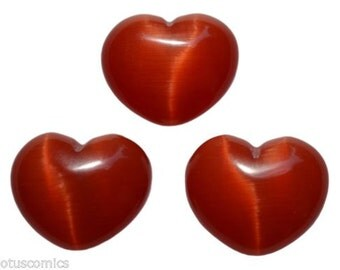 Lot of 3 Puffy Heart Red Fiber Optic Cats Eye Glass Pocket Sized Hand Carved