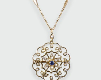 Late Victorian Sapphire and Seed Pearl Gold set Pendant in 9ct Gold N12