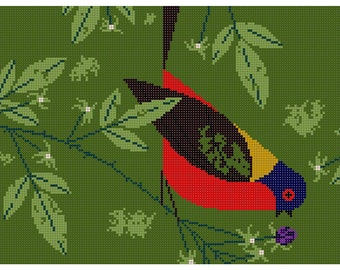 Painted Bunting Needlepoint Pattern