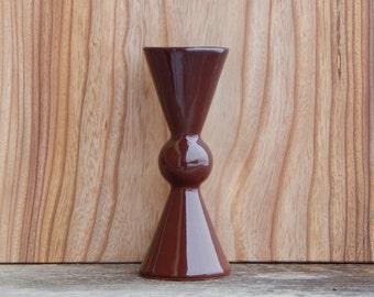 Soviet Vintage Brown Ceramic Bow Tie Vase Made in USSR Russian Design Glossy Glaze