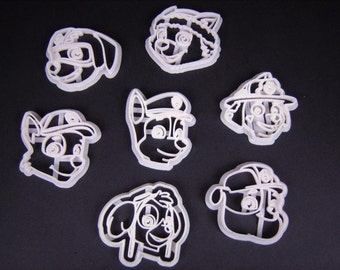 Paw Inspired Patrol Cookie Cutter Set Of 7 Canine Face Chase Rubble Skye Everest
