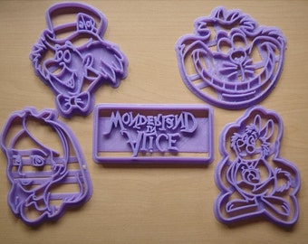 Alice In Wonderland Cookie Cutter Set Of 5 Through the Looking Glass White Rabbit Mad Hatter Cheshire Cat