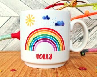 Personalised Rainbow Child's Mug, Rainbow Mug, Gift For A Girl, Child's Gift, Espresso Mug, Kids Gift, Kid's Mug, Rainbow Girl Gift