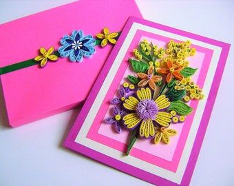 Quilling Greeting Card,Card for Mom,Birthday card,Mother's Day, Anniversary card,Quilled card for her, Paper quilling card, Thank you card