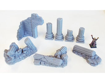 Complete Set of Ruined Columns - 28mm scatter terrain, wargames, roleplaying games