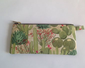 Cactus fabric pencil case, iphone or makeup pouch. For stationary or cosmetics