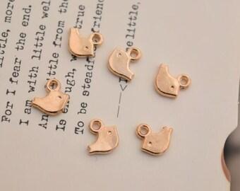 20 tiny bird charms gold charm pendants