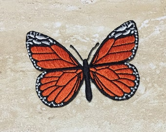 Orange BUTTERFLY Embroidery Patch Iron On