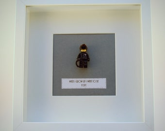 When I grow up I want to be..... A spy LEGO mini Figure framed picture 25 by 25 cm