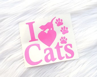 I love cats Sticker | Cat Decal | Fur lover | I love kitties | Kitty Love | Pet Owner | Fur Baby | Animal Lover | Cat fur baby | Cat lady