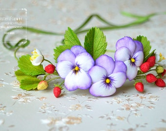 Pansy Wedding crown Flower Crown Strawberry Floral Gift for her Flower headpiece headband Woodland crown Flower accessories Berry crown Boho