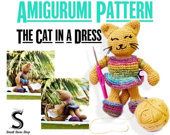 The Cat in a Dress Crochet Pattern | Crochet Cat Pattern | Cat Crochet Pattern | Amigurumi Pattern PDF | Cat Crochet Doll