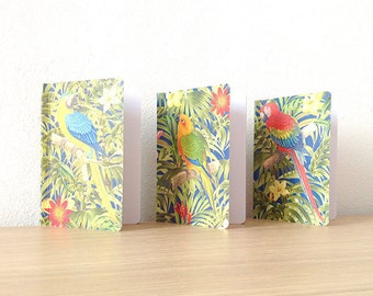 little pocket carnet assorted, notebook blue, red, yellow printed jungle parrots • Collection PARROT PARADISE