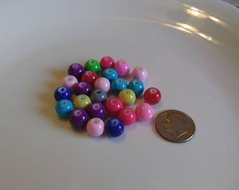 10mm,round, multi colored,bright,glass beads, 25pcs. e-401