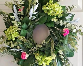 Preserved lemon leaf wreath, hydrangea wreath, custom sizes, preserved wreath, small wreath, natural wreath, salal wreath, indoor wreath