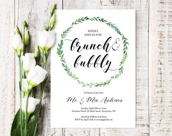 Brunch & Bubbly Invitation Template, Printable Post Wedding Brunch Invite, Instant Download, Editable Text, PDF File, Digital #026-105WB