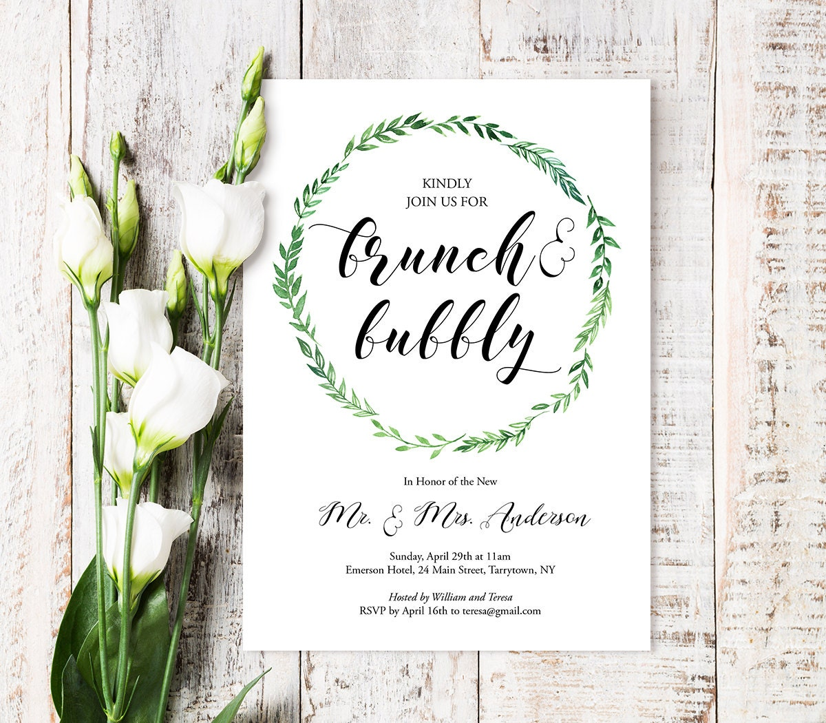 brunch & bubbly invitation template, printable post wedding brunch, Wedding invitations