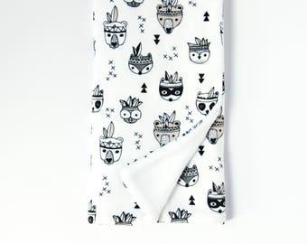Baby Blanket Black and White. Minky Baby Blanket. Animal Baby Blanket. Black Baby Blanket. Monochrome Nursery. Tribal. Bear. Raccoon