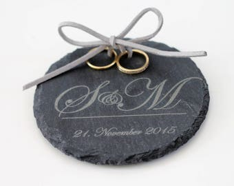 personalized RING cushion / RING plate of shale with initials and date